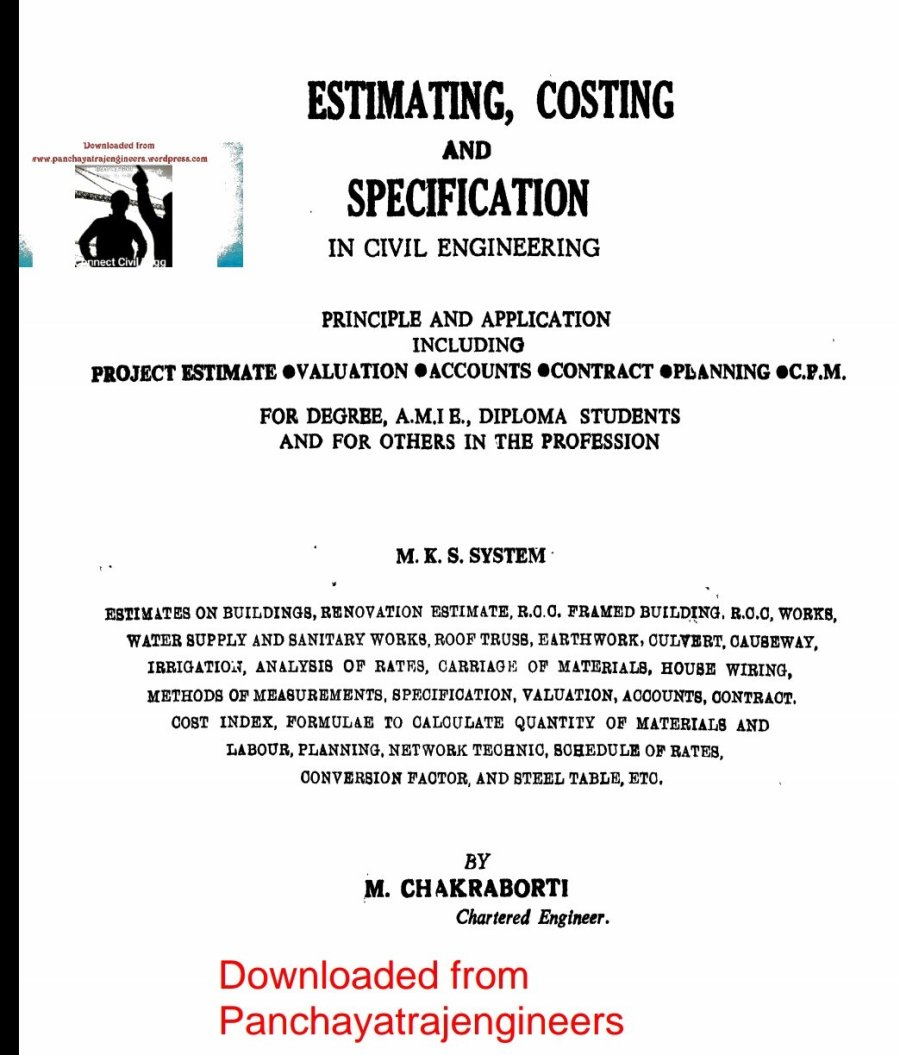 Estimating Costing & Specification PDF by M Chakraborthy